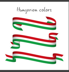Set three ribbons with hungarian tricolor vector