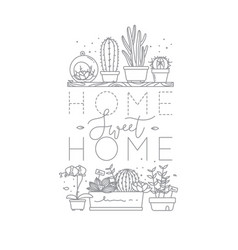 Shelf with flowers home sweet home vector