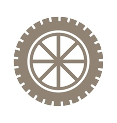 Silhouette gear wheel icon with lines vector
