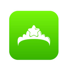 small princess crown icon green vector image