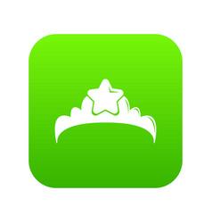 small princess crown icon green vector image