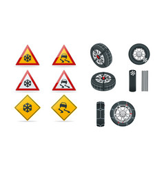 snow chains on tire slippery road traffic signs vector image