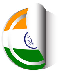 sticker template for india flag vector image