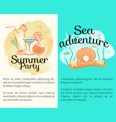 summer party sea adventures banners with cocktails vector image