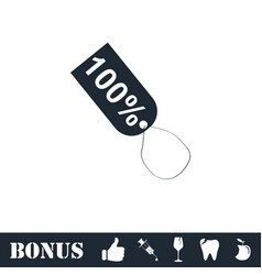 Tag 100 icon flat vector