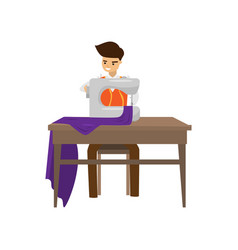Tailor sews clothes on sewing machine isolated on vector
