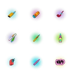Tobacco icons set pop-art style vector image
