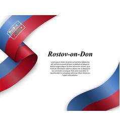 Waving ribbon with flag city vector