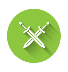 White crossed medieval sword icon isolated with vector
