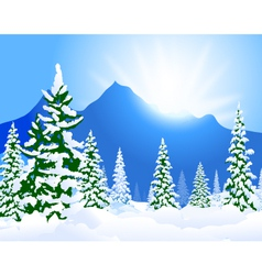 Winter landscape and morning sunshine vector