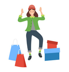 woman with shopping bags and colorful boxes young vector image