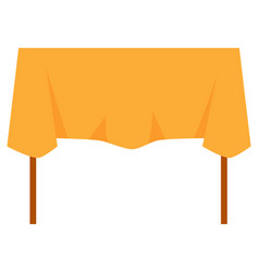 Wooden table with orange tablecloth image vector