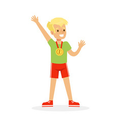 young boy with a first place medal kid vector image