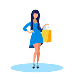 young woman in fashionable dress flat vector image