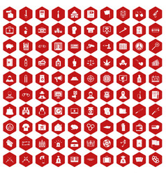 100 criminal offence icons hexagon red vector image vector image