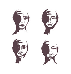 a set of human faces vector image