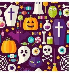 Flat Dark Halloween Party Seamless Pattern vector image vector image