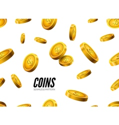 Gold coin seamless pattern Wealth business vector image