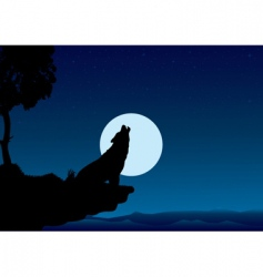 howling wolf into the night vector image vector image