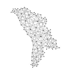 map of moldova from polygonal black lines and dots vector image vector image