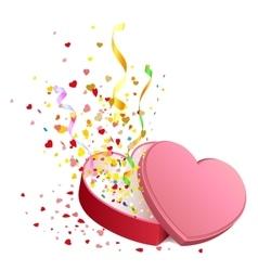 Open gift box in heart shape vector image vector image