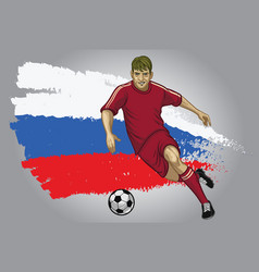 Russia soccer player with flag a s a background vector