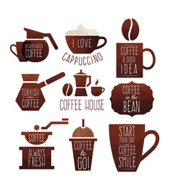 set coffee design elements vector image vector image