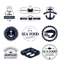 set of seafood logos Crab lobster restaurant vector image