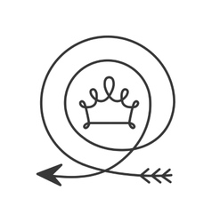Silhouette with arrow in shape circular and crown vector