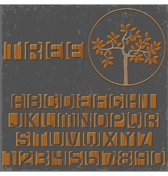 Wooden alphabet letters and numbers vector image