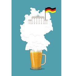 Beer with foam silhouette German map Brandenburg vector image vector image