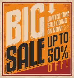 Big sale retro banner on old paper texture vector image vector image