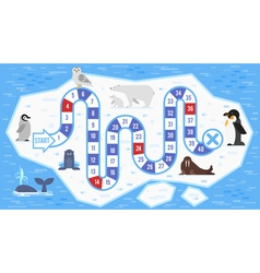 flat style of kids arctic animals board game vector image vector image