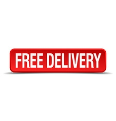 free delivery red 3d square button isolated on vector image