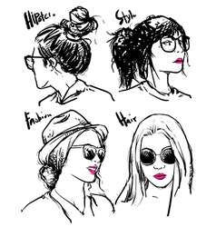 Hand drawn fashion girls hipster outline vector image vector image