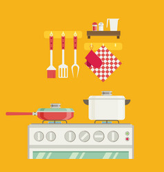 interior of kitchen pans on the stove cooking in vector image