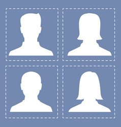 people profile silhouettes in white color vector image