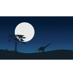 Silhouette of argentinosaurus with moon landscape vector image