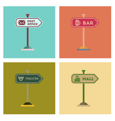 Assembly flat icons sign of bar post office mall vector