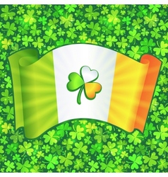 Celtic clover on Irish flag at green clovers vector image vector image