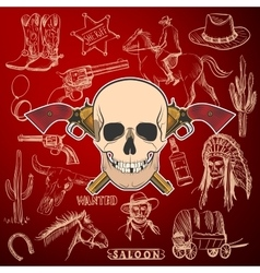 Hand drawn Wild West Collection with Crossed vector image