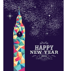 Happy new year 2016 london color triangle hipster vector