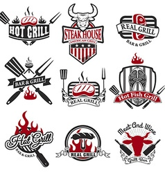 Set of grill bar labels and badges vector