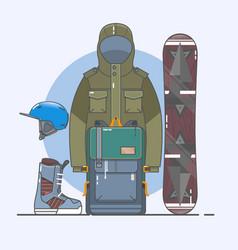 snowboard accessorieswinter sports icon set line vector image vector image