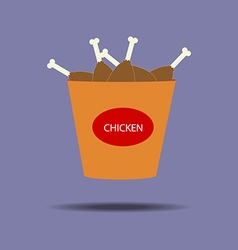 Bucket of chicken legs icon vector image vector image