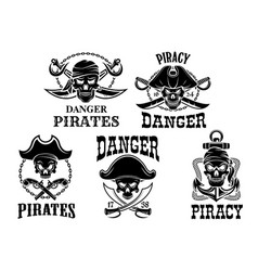 jolly roger pirate icons set vector image vector image