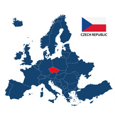 map of europe with highlighted czech republic vector image vector image