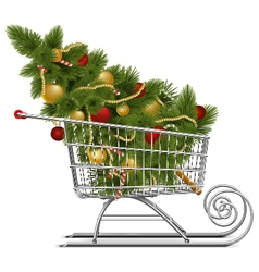Supermarket Sled with Christmas Tree vector image