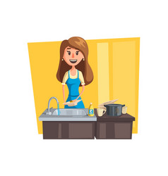 washing dishes cartoon icon with woman housewife vector image