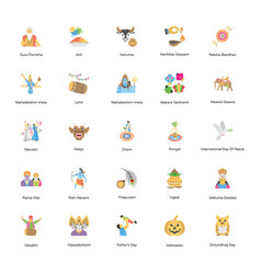 100 holiday icons pack vector image